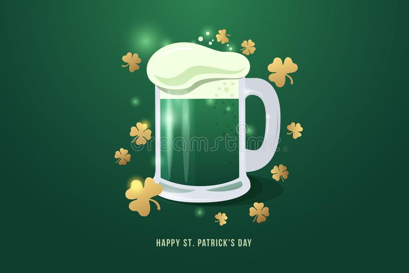 Bild des halben Liters Bieres zu St- Patrick` s Tag Becher Bier mit weißem Schaum- und Goldklee verlässt vektor abbildung