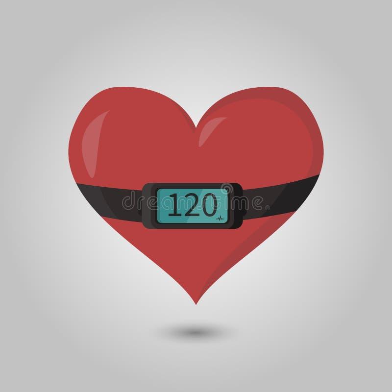 Bild des Herzens mit dem Herzfrequenzmonitor auf ihm stock abbildung
