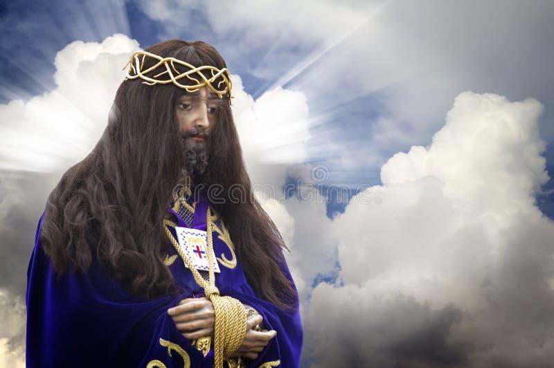 Bild des Jesus Christus auf Unterseite der Wolken lizenzfreies stockbild