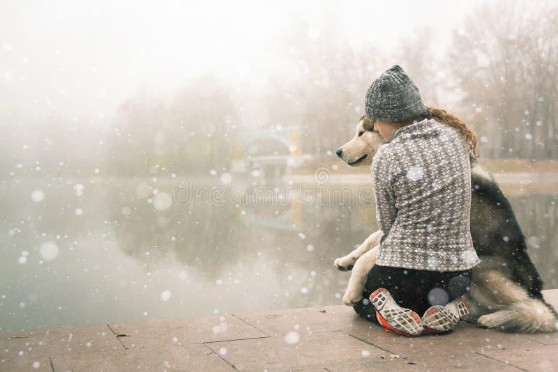 Bild des jungen Mädchens umarmen ihren Hund, den alaskischen Malamute, im Freien lizenzfreie stockfotografie