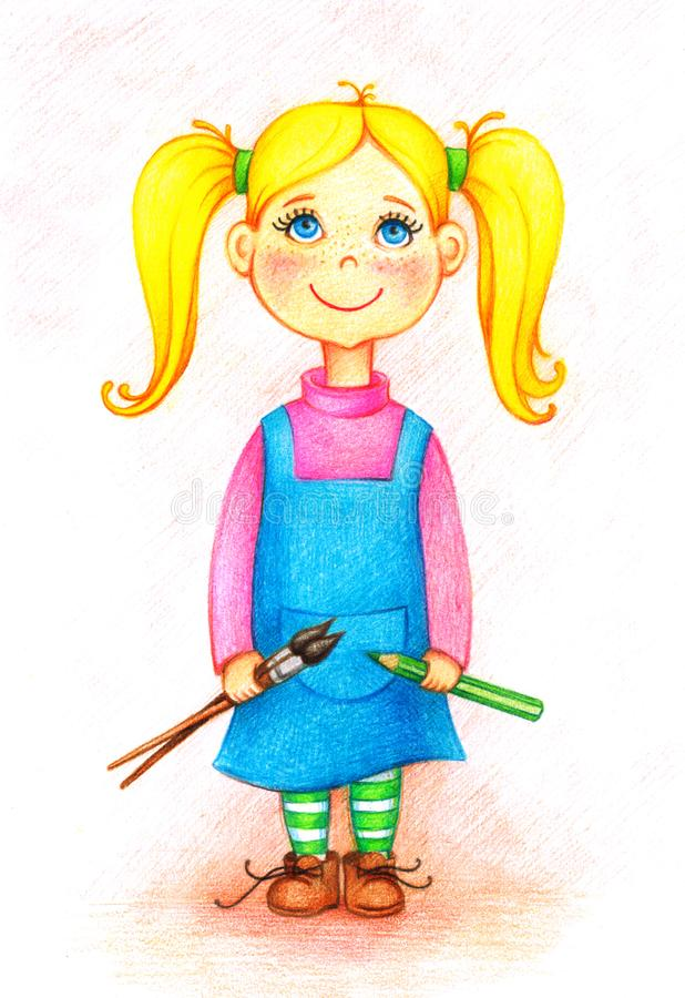 Bild des Künstlers des kleinen Mädchens mit Bürsten und Bleistift lizenzfreie abbildung