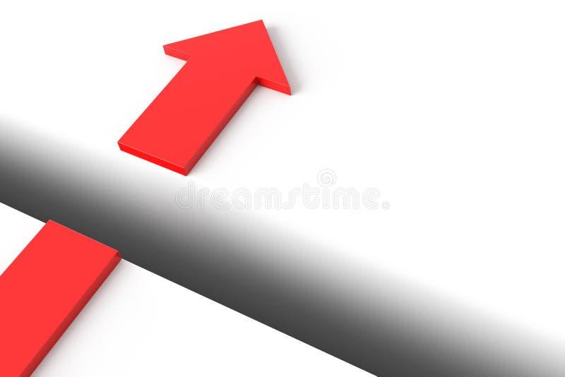 Bild des Pfeiles über der Nut vektor abbildung