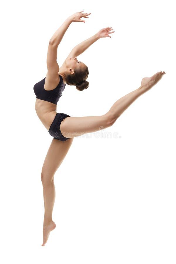 Bild des Tänzers des würdevollen Balletts, der im Sprung aufwirft stockfotografie