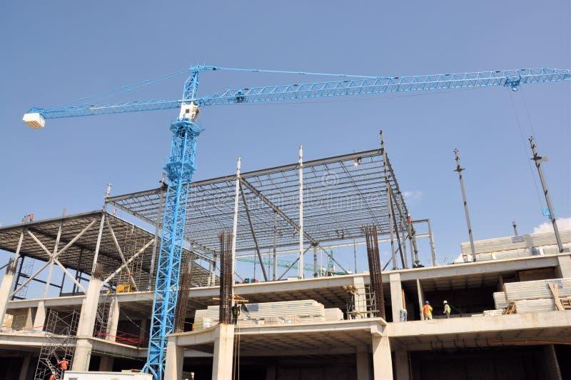 Baustelle und Kran lizenzfreie stockfotos