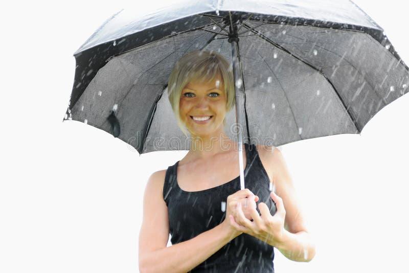 Bild einer Frau mit Regenschirm stockbilder