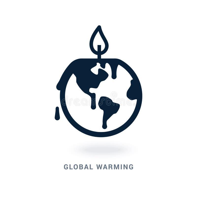 Bild einer Umweltkatastrophe in Form eines Planeten, der wie eine Kerze schmilzt stock abbildung