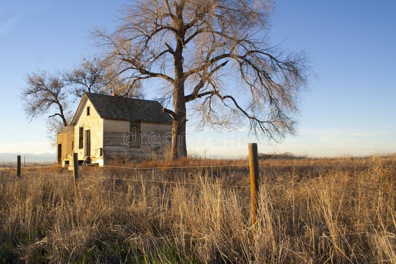 Bild eines alten verlassenen Hauses mit Bäumen stockfotos