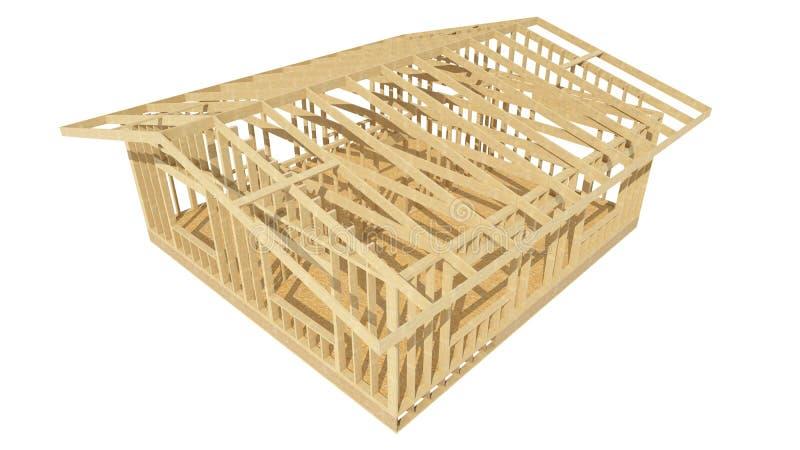 Bild eines Holzrahmenhauses lizenzfreie abbildung