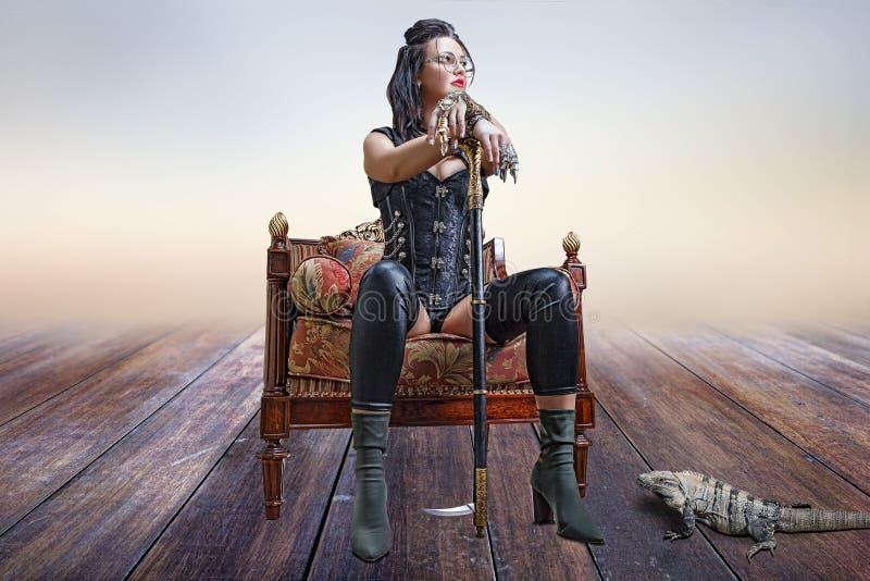 Bild eines schönen steampunk Mädchens stockfoto