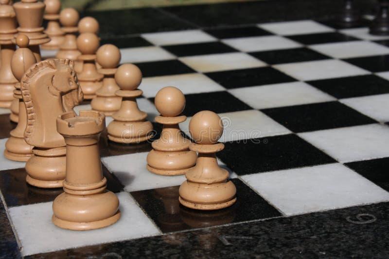 Bild eines Schachbrettes und -Schachfiguren lizenzfreie stockfotos