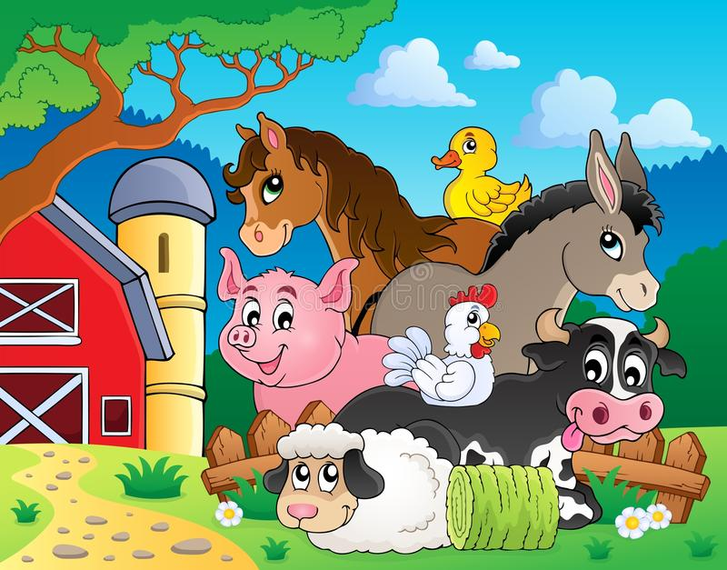 Bild 3 för ämne för lantgårddjur stock illustrationer