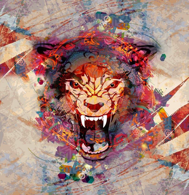 Bild för abstrakt konst med vargen vektor illustrationer