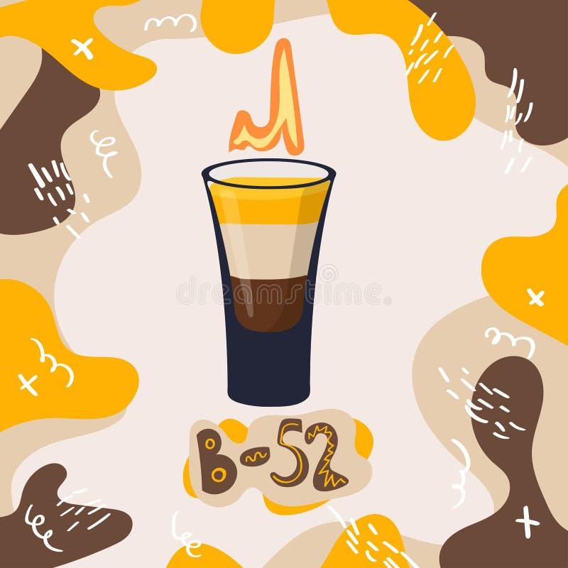 Bild för alkoholdryck B-52 på modern moderiktig bakgrund M?rka namn av coctailen med exponeringsglas Mall f?r kortbaner och affis vektor illustrationer