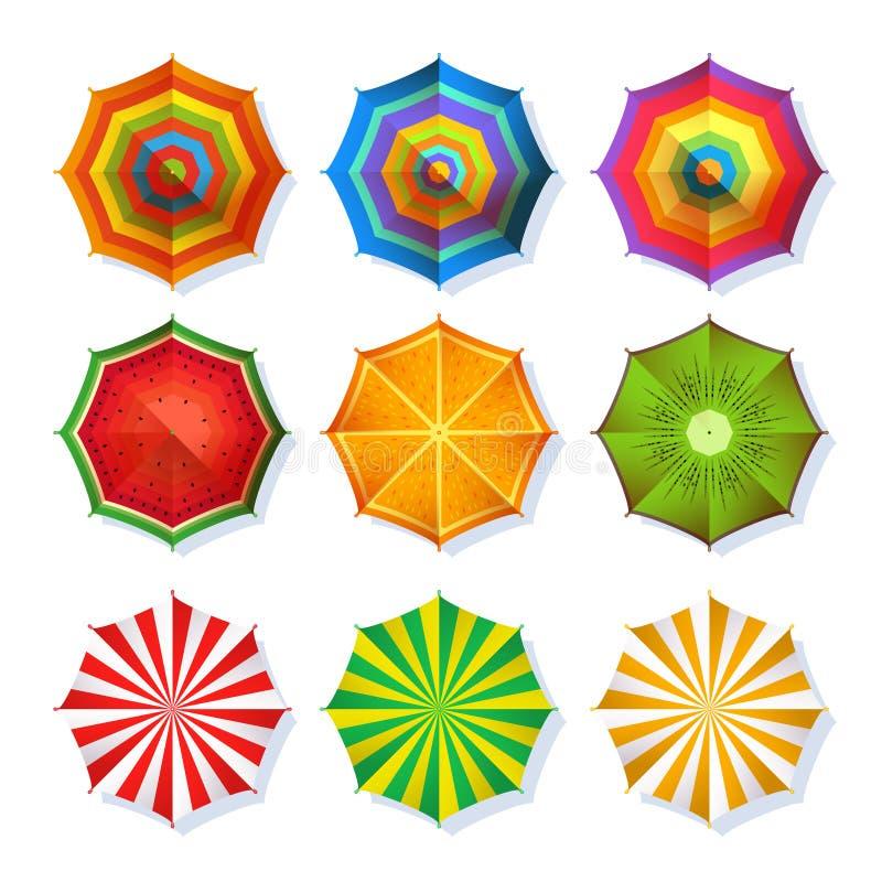 Bild för bästa sikt av sommarstrandparaplyet för avkoppling Färgrik vektoruppsättningisolat på vit royaltyfri illustrationer