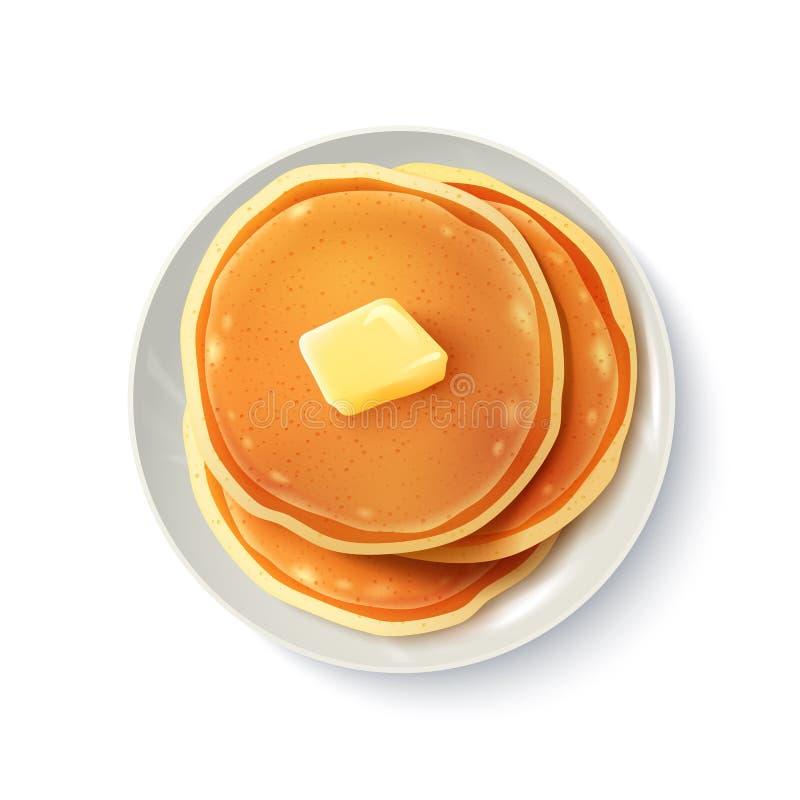 Bild för bästa sikt för pannkakor för frukost realistisk royaltyfri illustrationer