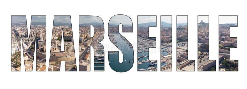 Bild för bokstäver för Marseille stadstitel sammansatt arkivbilder