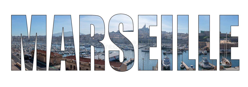 Bild för bokstäver för Marseille stadstitel sammansatt royaltyfri foto