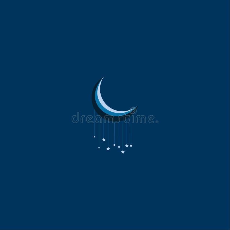 Bild för bra natt för måne och för stjärnor kall stock illustrationer
