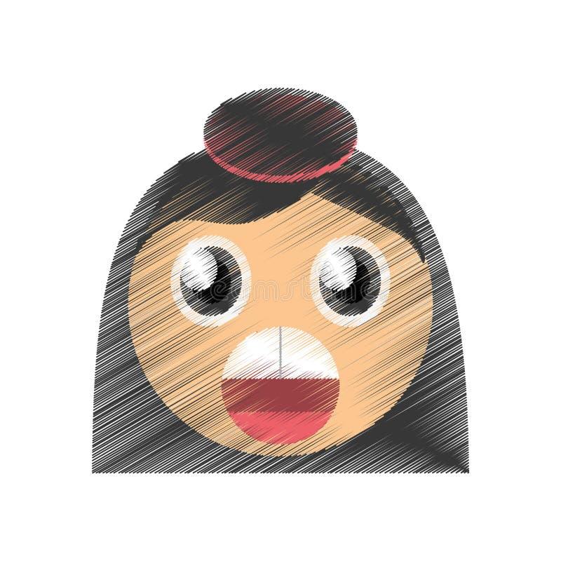 bild för emoticon för teckningsflickaöverraskning royaltyfri foto