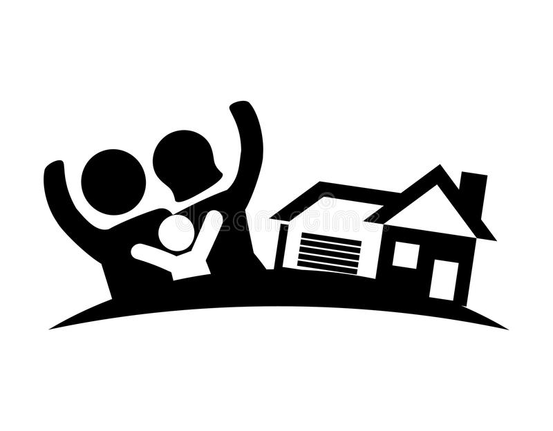 Bild för fastighet för familjhem stock illustrationer