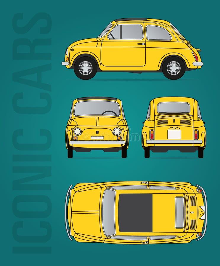 Bild för Fiat 500 oldtimervektor vektor illustrationer