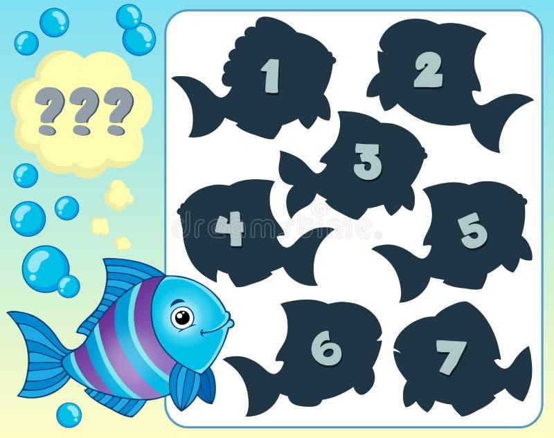 Bild 1 för fiskgåtatema royaltyfri illustrationer