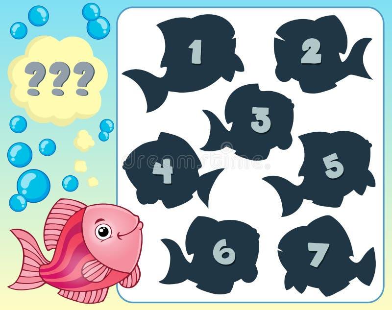 Bild 3 för fiskgåtatema stock illustrationer