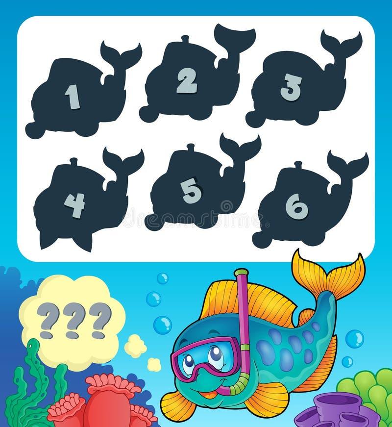 Bild 9 för fiskgåtatema stock illustrationer