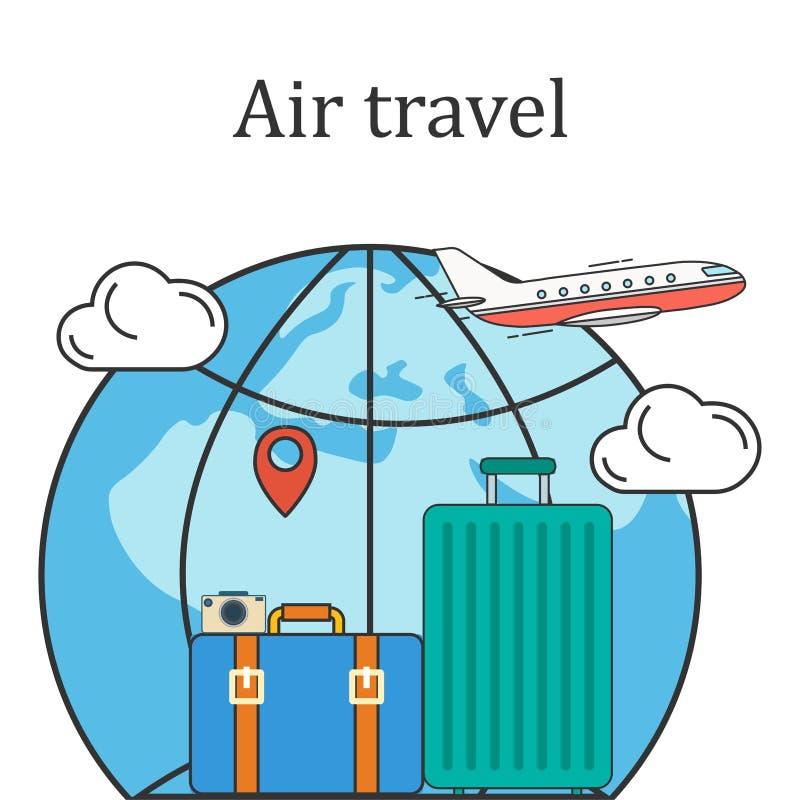 Bild för flygresabegreppsvektor royaltyfri bild