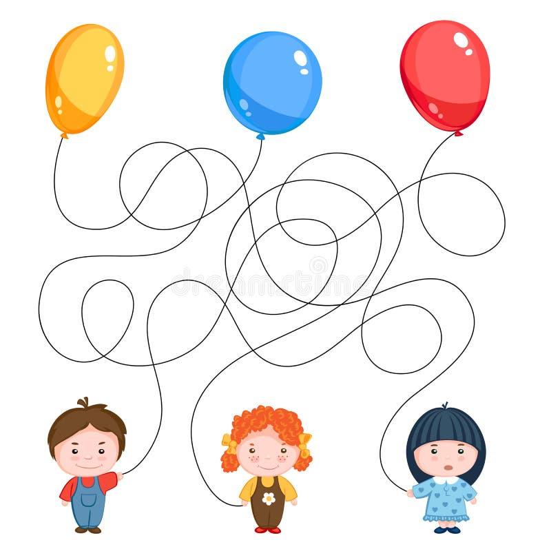 Bild för gåta för barn` s Tre barn med ballonger, guling, blått och rött, trådarna är blandade stock illustrationer