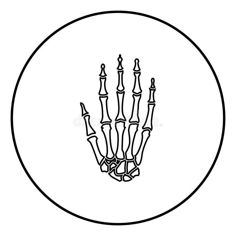 Bild för illustration för vektor för färg för svart för symbol för handben enkel vektor illustrationer