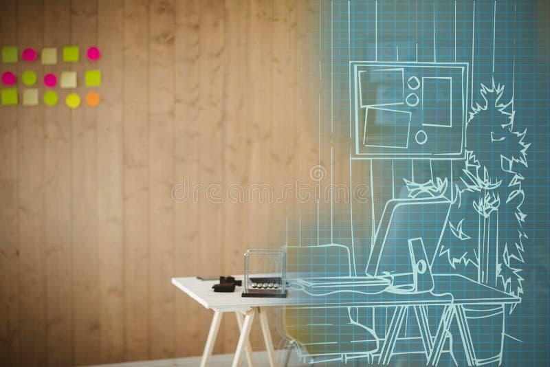 Bild för komposit 3d av datoren på skrivbordet på kontoret vektor illustrationer