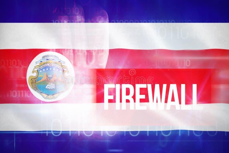 Bild för komposit 3d av firewallen mot blå teknologidesign med binär kod stock illustrationer