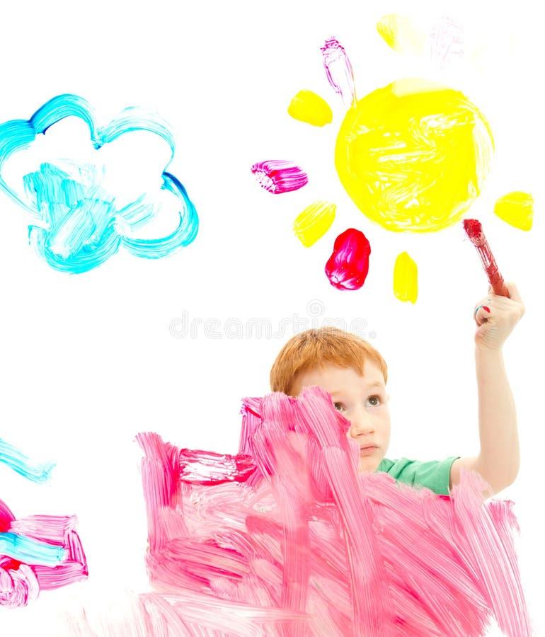 Download Bild För Konst För Pojkebarnmålning På Fönster Fotografering för Bildbyråer - Bild av fönster, färgrikt: 27283377