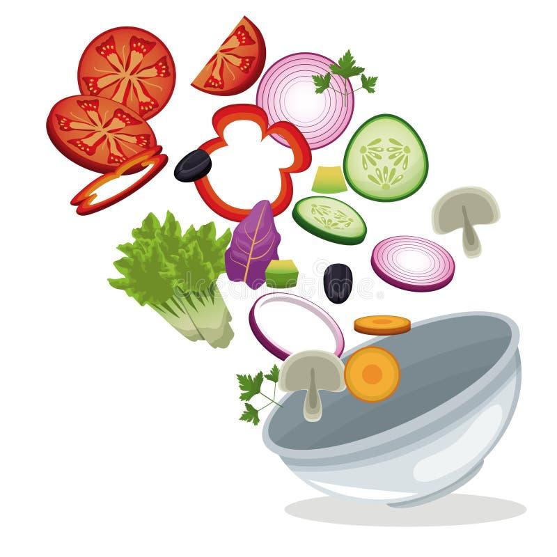 Bild för mål för lunch för bunkesalladgrönsaker vektor illustrationer