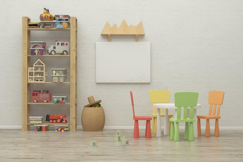 Bild för modigt rum för ungar inre framförande 3d arkivbild