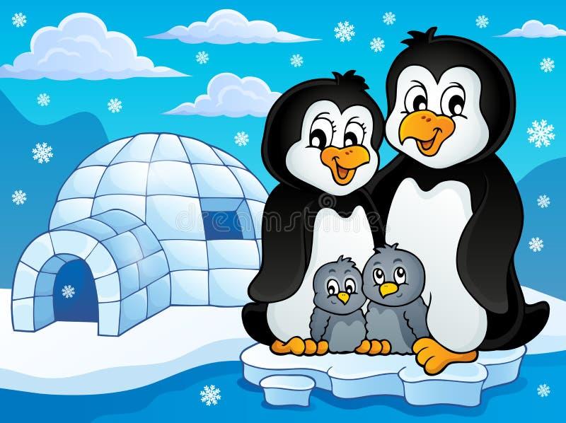 Bild 2 för pingvinfamiljtema stock illustrationer
