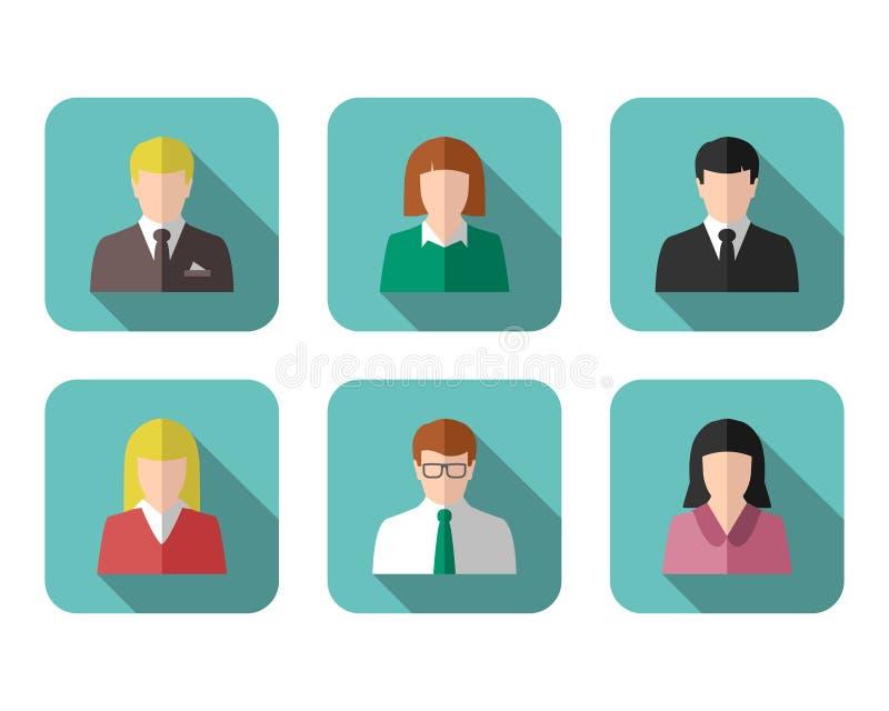 Bild för profil för affärsfolk och symbolsuppsättning stock illustrationer