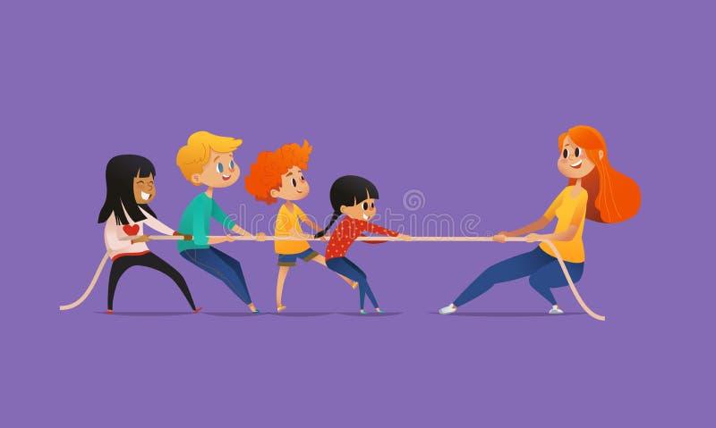 Bild för rödhårig manlärarinnavisning till barn som sitter runt om den runda tabellen på grupp med bärbar dator- och minnestavlaP royaltyfri illustrationer