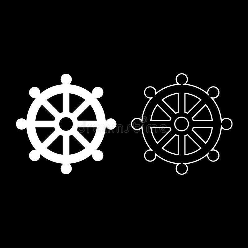 Bild för religiös för tecken för lag för symbolbudhismhjul enkel för symbol för uppsättning vit för färg för illustration stil fö stock illustrationer