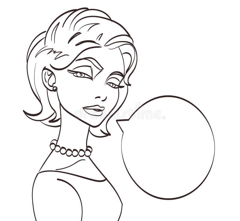 Bild för samtal för Lineart vektorkvinna Stil för popkonst, eps 10 vektor illustrationer
