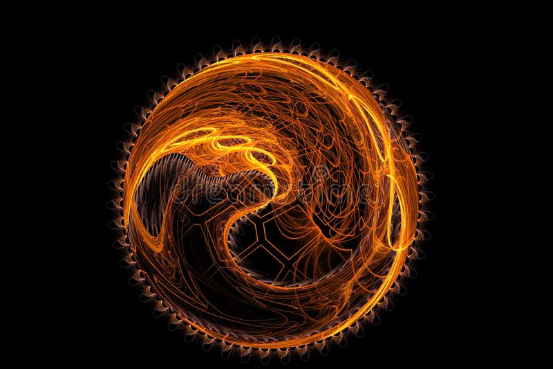 Bild för sol för abstrakt fantasi för fractal orange konstgjord stock illustrationer