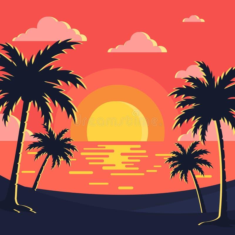 Bild för solnedgång-/strandbakgrundsvektor vektor illustrationer