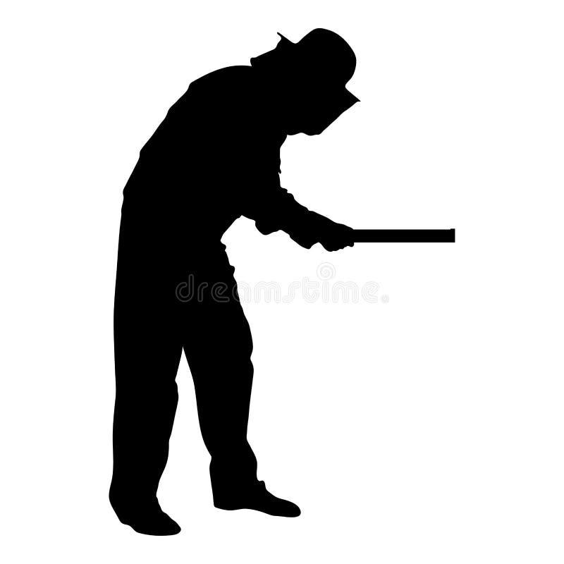 Bild för stil för illustration för vektor för färg för svart för symbol för Apiarist för planka för Beekeeperinnehavhonungskaka p stock illustrationer