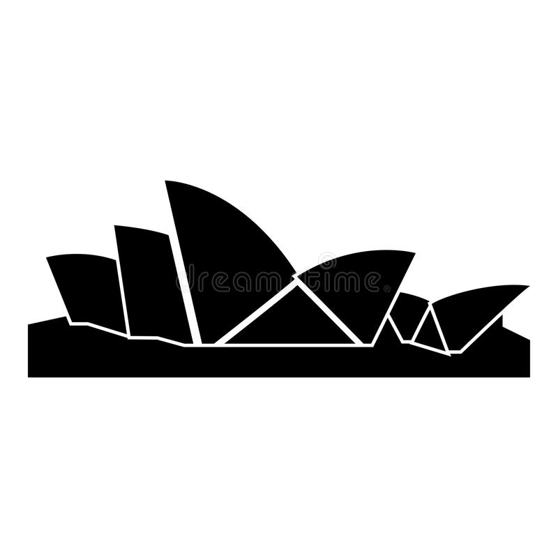 Bild för stil för lägenhet för illustration för färg för Sydney Opera House symbolssvart enkel stock illustrationer