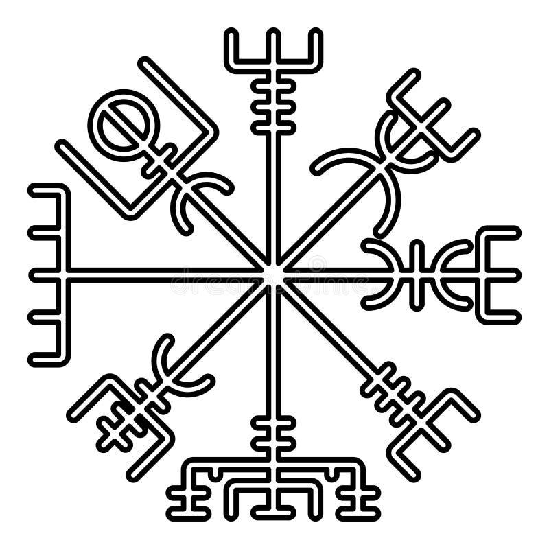Bild för stil för run- kompassgaldrastav för navigering för Vegvisir för kompass för symbol för symbol för svart för färg illustr stock illustrationer