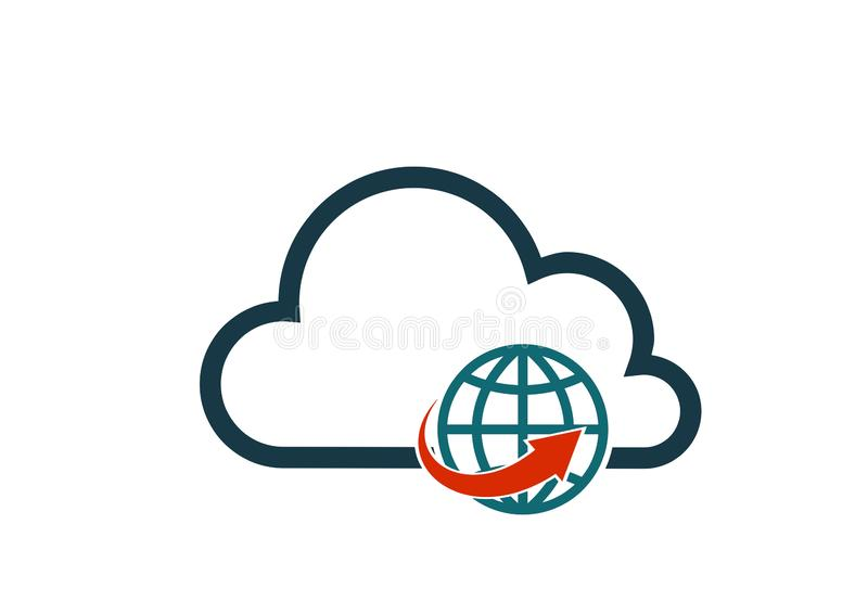 Bild för tecken för internet för datateknik för vektor för moln för globalt nätverk symbol isolerad royaltyfri illustrationer