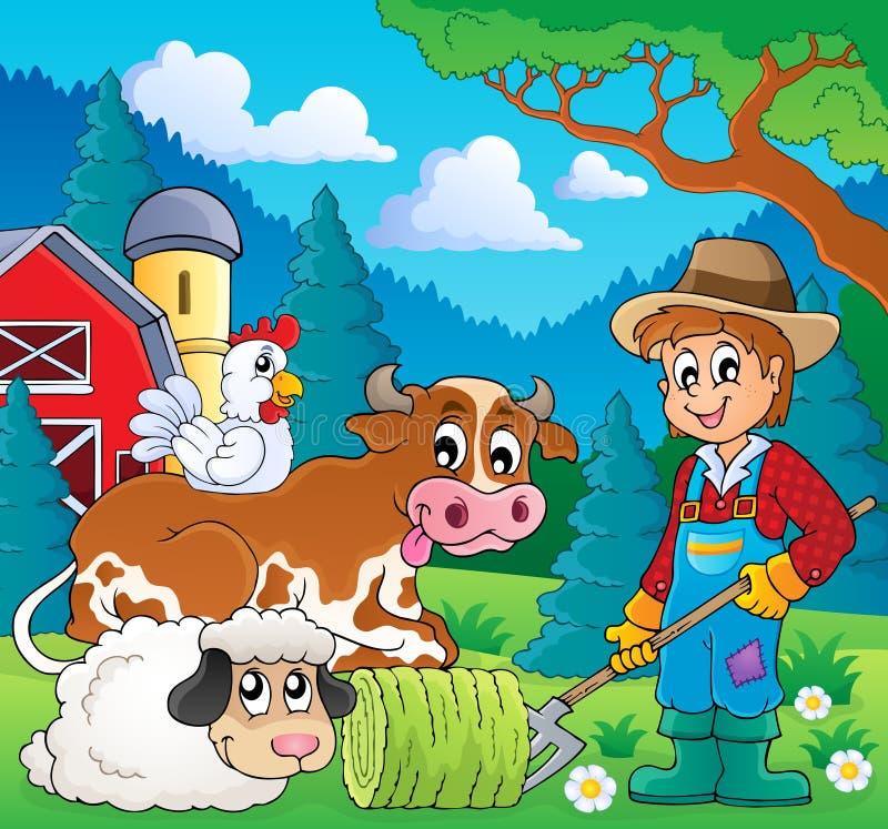 Bild 9 för tema för lantgårddjur stock illustrationer