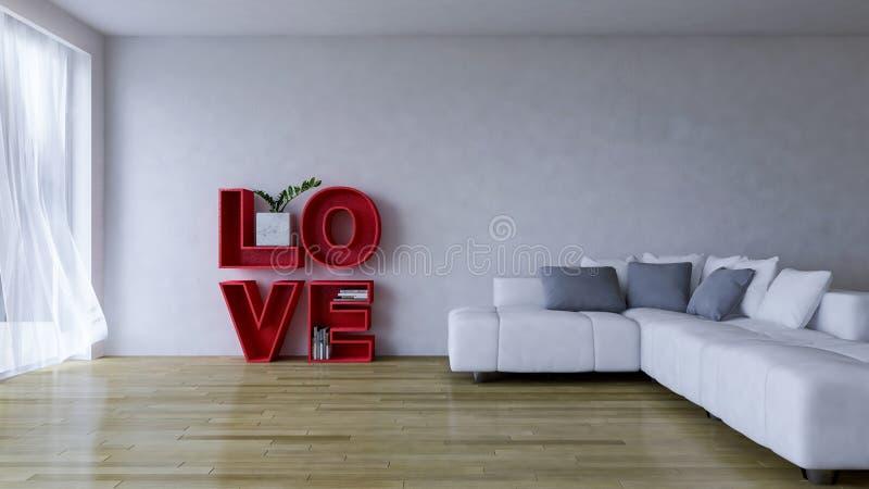 bild för tolkning 3d av vardagsrum för inredesign royaltyfri illustrationer