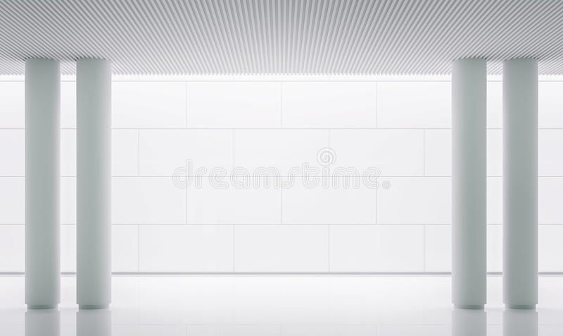 Bild för tolkning 3d för tomt utrymme för vitt rum modernt inre royaltyfri illustrationer